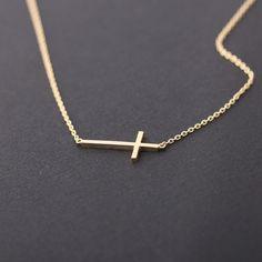 sideways cross necklace, gold