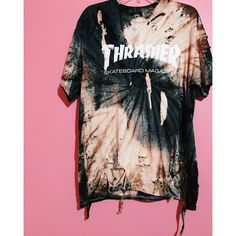 """THRASHER"" Tee Stvy.Goldd ❤ liked on Polyvore featuring tops and pink top"