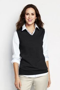 Women's Performance V-neck Sweater Vest from Lands' End $43   Comes in black, navy, red, china blue, pale emerald