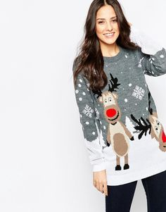 Cool Club L Reindeer Christmas Jumper - Grey Club L Strikketøj til Damer i behageligt materiale