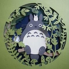 icu ~ Pin on paper craft ~ Totoro paper cut art Source by patparadise 3d Paper Art, Paper Artwork, Diy Paper, Paper Cutting Art, Paper Crafting, Kirigami, Origami Totoro, Papercut Art, Paper Illustration