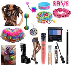 """""""rainbow rave"""" by nareikacook ❤ liked on Polyvore"""