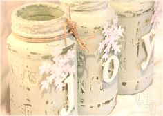 How to make painted snowy mason jars