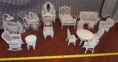 RARE HARD TO FIND - Beautiful Vintage Wrought Iron Doll House White Metal Furniture Lot: Bedroom Table Chairs Vanity Baby Stroller/Crib, Rocking Chair Couch Bird Cage Mirror $150 #dollhouse #dolls #collection #ebay #funkythrift
