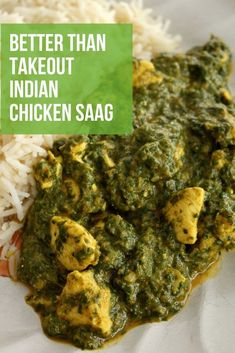 This quick and easy Chicken Saag is the fastest curry you'll ever make from scratch. It's healthy and delicious with a flavor bomb of spices. You'll never need to order Indian takeout again with this recipe in your arsenal. Spinach Indian Recipes, Indian Food Recipes, Asian Recipes, Indian Chicken Recipes, Healthy Recipes, Saag Paneer Recipe, Paneer Recipes, Curry Recipes, Fernando Torres