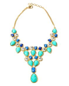 Amrita Singh Turquoise & Lapis Austrian Crystal Dune Bib Necklace by Amrita Singh Fashion Jewelry Necklaces, Jewelery, Jewelry Watches, Bib Necklaces, Resin Necklace, Jewellery Box, Jewelry Shop, Jewelry Making, Dune