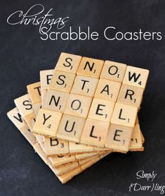 A few months ago I showed all of you my Scrabble Coasters. I still love them but thought that it would be fun to create a Christmas set. These would make great Christmas gifts for your Scrabble loving Scrabble Letter Crafts, Scrabble Coasters, Scrabble Art, Tile Coasters, Scrabble Tiles, Scrabble Words, Diy Christmas Gifts For Friends, Homemade Christmas Gifts, Handmade Christmas