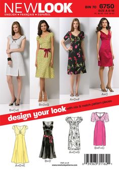 New Look Sewing Pattern 6750 Misses Dresses, Size A (8-10-12-14-16-18)