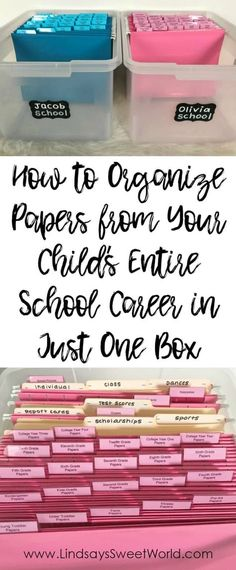 House Organization Kids - How to Organize All of Your Child's School Papers in Just One Box Kids And Parenting, Parenting Hacks, Parenting Classes, Life Organization, Kids School Organization, Stationary Organization, Household Organization, School Days, School Memories