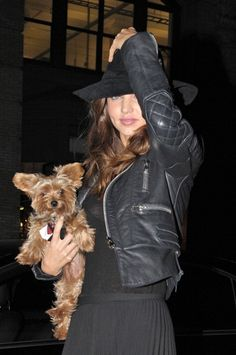 "Miranda Kerr ( Victoria's Secret) and dog ""Frankie""."