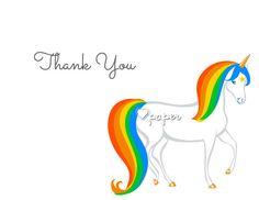 Rainbow Unicorn | Printed Thank You Cards Folded Flat Card Notecard Stationery | Birthday Baby Shower Bridal Wedding | Gift Unique