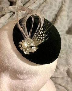 Excited to share the latest addition to my shop: Wedding , special occasion fascinator mini hat.Black velvet base with a combination of feathers,pearl and diamanté detailing,handmade/unique Fascinator, Headpiece, Little Rose, Pewter Grey, Rose Design, Craft Items, Headgear, Black Velvet, Feathers