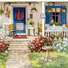 Front Porch in Maine, another giclee, personally enhanced and then hand by the artist, Janet Kruskamp.