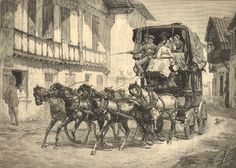 A print depicting a French diligence (sort of omnibus coach).