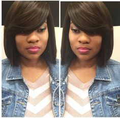 Full sew in with no leave out no closure sew in weave install sew in bob hairstyles - Bob Hairstyles Short Sew In Hairstyles, Quick Weave Hairstyles, African Braids Hairstyles, Protective Hairstyles, Braided Hairstyles, Sew In With Bangs, Bob Sew In, Full Sew In Bob, Full Sew In Weave