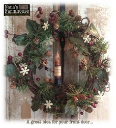 Christmas Wreath at Nana's Farmhouse St. Louis.  Be sure to click on our website link to see more.