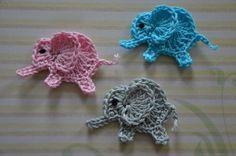 Super cute crochet elephant applique, it is very easy to learn how to create this cutie Crochet Elephant Pattern, Elephant Applique, Crochet Blanket Patterns, Crochet Motif, Crochet Yarn, Knitting Patterns, Crochet Butterfly, Crochet Flowers, Applique Patterns