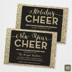 New Year's Eve Party Invite - Holiday Party Invite - 2014 - Holiday Cheer - New Year Cheer - Faux Gold Glitter Invite
