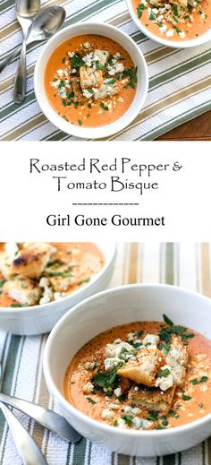 Creamy roasted red pepper & tomato bisque garnished with homemade croutons and blue cheese crumbles /////// OMG! This was amazing and I don't even like tomato soup. The blue cheese put it over the top. ~KP one of my favorite soups~KP Gourmet Recipes, Soup Recipes, Vegetarian Recipes, Cooking Recipes, Healthy Recipes, Recipies, Gourmet Foods, Roasted Red Peppers, Roasted Red Pepper Soup