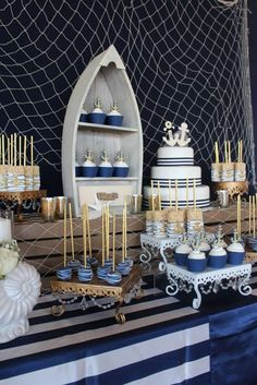 'n our Opulent Treasures cake stands & HOW CUTE are the bride &groom anchors!! >> In High Tide or Low Tide I'll Be By Your Side | CatchMyParty.com