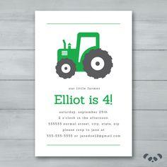 Tractor Birthday Party invitation  |  Farming Birthday Invitation  |  Farmer Green Tractor Invite by PandafunkCreations on Etsy https://www.etsy.com/listing/266101650/tractor-birthday-party-invitation
