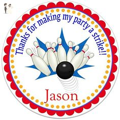"""40 Round Labels 2"""" Personalized Bowling Pin Birthday Stickers, Custom Hangtags, Party Favors Labels, Cupcake Toppers, Choice Of Size - Venue and reception decor (*Amazon Partner-Link)"""