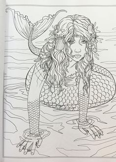 92 Best MERMAID COLOURING PAGES Images On Pinterest In 2018