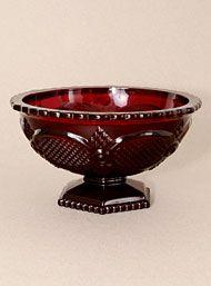 Vintage Garnet Glass Serving Bowl