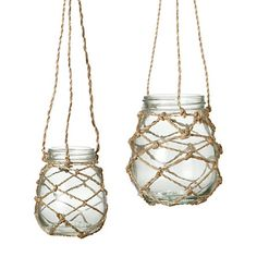 DIY w/ little jars & twine {tea-light lanterns}