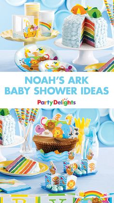 Find out how to throw this gorgeous Noah's Ark baby shower on the blog today! This stunning baby shower theme would also work well for a 1st birthday. Pick up everything featured in these baby shower ideas on partydelights.co.uk.