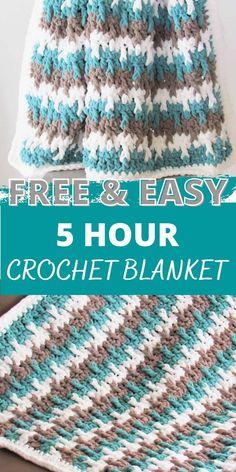 Bobble Stitch Crochet Blanket, Striped Crochet Blanket, Baby Boy Crochet Blanket, Crochet Baby, Loom Crochet, Quick Crochet, Crochet For Boys, Free Crochet, Crochet Afghans