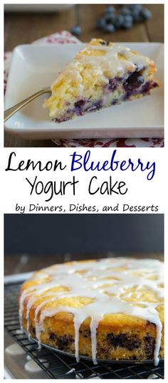 Lemon Blueberry Yogurt Cake - a super moist lemon yogurt cake studded with fresh blueberries and topped with a lemon glaze.