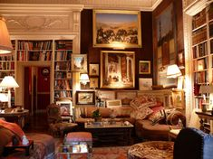 Re-pinned: Kenneth Jay Lane's New York Library.