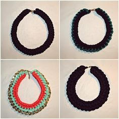 crochet t-shirt yarn necklaces