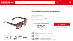 [Americanas.com] Óculos de Sol Sun John Unissex Antony - de R$ 63,58 por R$ 62,99