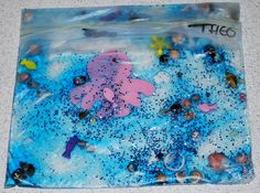 Ocean in a Bag - great sensory fun! Fill a snack or sandwich sized ziplock bag with hair gel, glitter, drop of blue food dye, plastic sea creatures, tiny shells. (thanks to Stanley Messy Church)