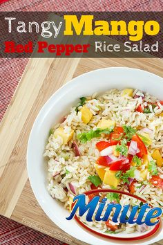 Tangy Mango and Red Pepper Rice Salad |  Delicious and easy lunch idea. It also makes a great side recipe for a busy back to school evening. AD LunchWithMinuteSweeps