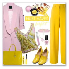"""Rose Quartz and Yellow"" by kimzarad1 ❤ liked on Polyvore featuring Marissa Webb, Bling Jewelry, Cédric Charlier, Emilio Pucci, Bill Blass, Furla, MAC Cosmetics, L.A. Colors, OPI and Adolfo Courrier"