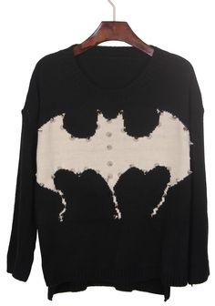 Black Rivet Embellished Bat Pattern Dip Hem Sweater
