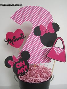 Minnie Mouse Centerpiece by 21Creations on Etsy...could be cute with silhouettes of the fab 5