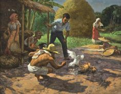 """Fernando Amorsolo y Cueto, Filipino painter, was an important influence on contemporary Filipino art and artists, even beyond the so-called """"Amorsolo school"""". Subjects: Philippine Genre, historical and society Portraits. Philippine Mythology, Philippine Art, Bali Painting, Painting People, Filipino Art, Philippines Culture, Rooster Art, Art Village, Thai Art"""