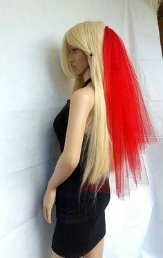 Halloween party Veil 2-tier red, Halloween costume idea. Lydia Deetz halloween…