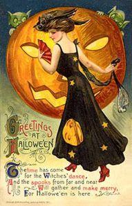 "Scarce Schmucker Lady Dressed for ""Witches' Dance"" Winsch Halloween Postcard Retro Halloween, Vintage Halloween Images, Halloween Pictures, Vintage Holiday, Holidays Halloween, Happy Halloween, Halloween Sayings, Halloween 2018, Vintage Images"