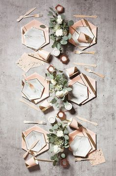 """Delicate gold trimming on elegant hexagon, nothing conveys taste more than our chic marble plates. Grey, White, Black, Gold Foil Paper Approx. 8"""" Corner to Cor"""