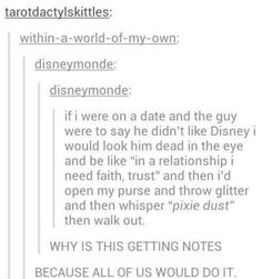 Tumblr convos are hilarious!  When a guys doesn't like Disney during a date!