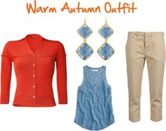 """""""Warm Autumn Outfit with Orange & Blue"""" by jeaninebyers on Polyvore"""