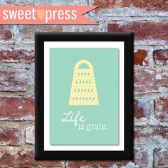 INSTANT DOWNLOAD - Printable Kitchen Wall Art - Life is Grate on Etsy, $8.00