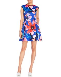 "Check out ""Floral Print Scuba Fit & Flare Dress"" from Century 21"