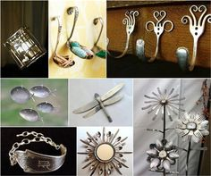 Reuse Recycle Silverware hooks jewelry bracelet flowers dragonfly ring