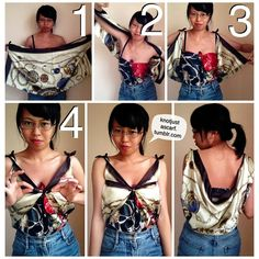 Silk Scarf Tying Tutorial #44: Butterfly Cowl Top. This is one of my inventions that I haven't seen anyone use and I love it! It's especially flattering if you're not well endowed in the bust area :P You can also see this top in action in my collaboration with Confetti! www.lifeisconfetti.com  Tutorial by @Arietta Yin